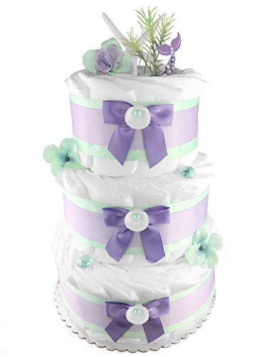 Mermaid 3-Tier Diaper Cake - 50 Size 1 Diapers - Girl Baby Shower Gift - Mint and Purple ()