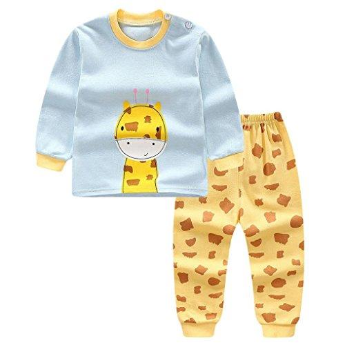 Little Boy Autumn Pajamas Sets,Jchen(TM) New Style! Newborn Infant Baby Little Boys Girls Cartoon Giraffe Print Tops+Pants Home Wear Sleepwear Outfits for 0-3 Y (Age: 12-18 Months) -