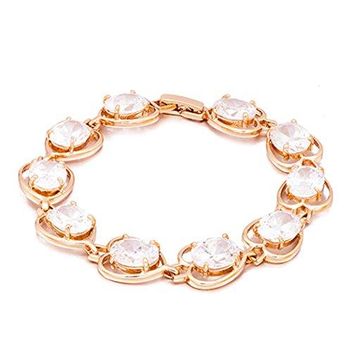 Real Spark(TM) Women 18K Gold Plated Diamond Cut Rhinestone Chain Link Goldtone Tennis Bracelet