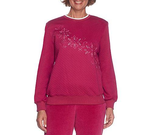 Alfred Dunner Sweater (Alfred Dunner Petites' Diagonal Knit Top Ruby Petite Medium)