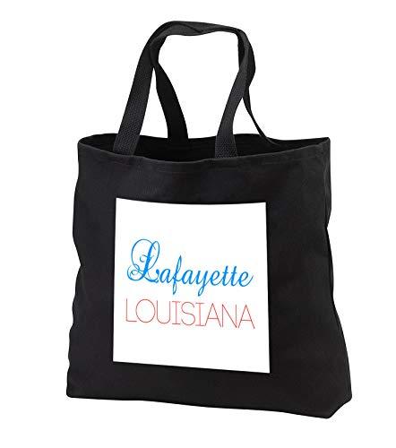 (Alexis Design - American Cities Kentucky-Nebraska - Lafayette, Louisiana blue, red text. Patriotic home town design - Tote Bags - Black Tote Bag 14w x 14h x 3d (tb_299476_1))