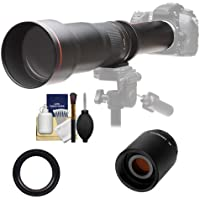 Vivitar 650-1300mm f/8-16 Telephoto Lens with 2x Teleconverter (=2600mm) + Kit for Nikon D3200, D3300, D5200, D5300, D7100, D610, D750, D810 Camera