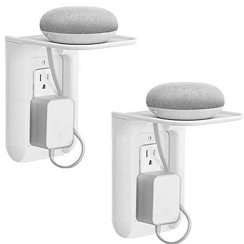 WALI Wall Outlet Shelf Standard Vertical Duplex GFCI Décor Outlet with Cable Channel Charging for Cell Phone, Dot 1st and 2nd Gen, Google Home, Speaker up to 10lbs (OLS002-W), 2 Packs, White