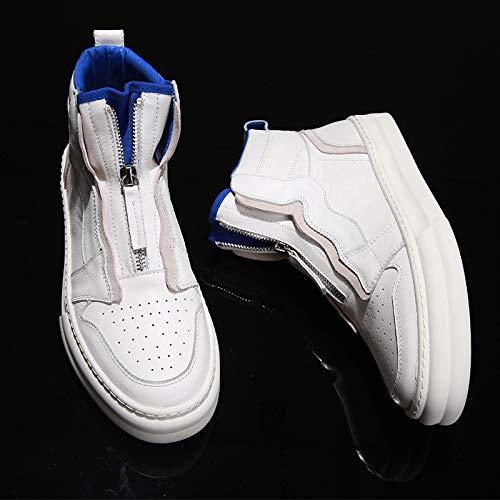 LOVDRAM Stiefel Männer Weiß Hohe Schuhe Männliche Martin Stiefel Mode Schuhe Wilde Hohe Band Baumwolle Schuhe Dicke Herrenschuhe