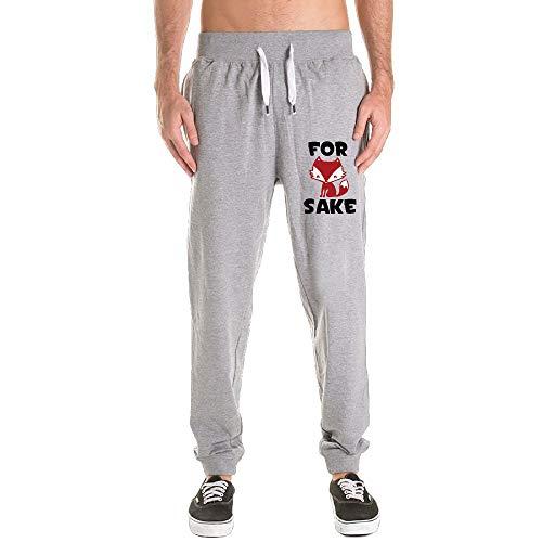 Kkajjhd Funny for Fox Sake Mens Jogger Sport Pants, Casual Zipper Gym Workout Sweatpants Pockets