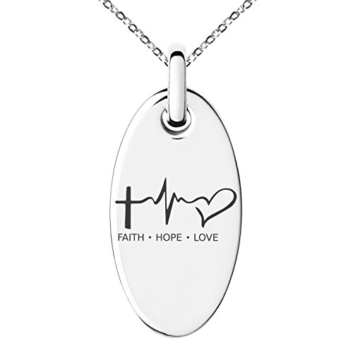 Small Oval Necklace - Stainless Steel Faith Hope Love Lifeline Engraved Small Oval Charm Pendant Necklace