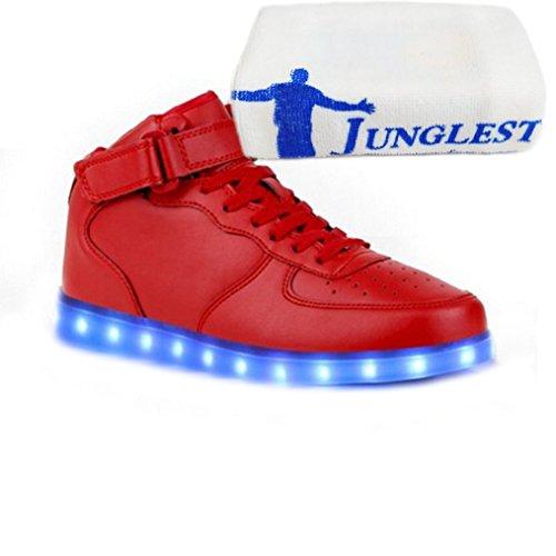 (Present:kleines Handtuch)JUNGLEST 7 Farbe USB Aufladen LED Leuchtend Sport Schuhe Sportschuhe Sneaker Turnschuhe für Unis High Top mit Velcro Rot