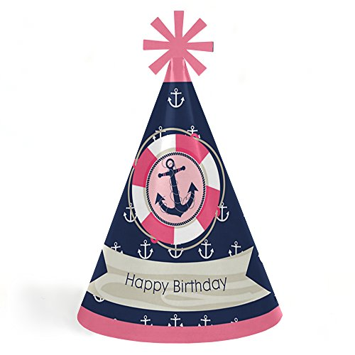 Ahoy - Nautical Girl - Cone Happy Birthday Party Hats for Kids and Adults - Set of 8 (Standard Size) ()