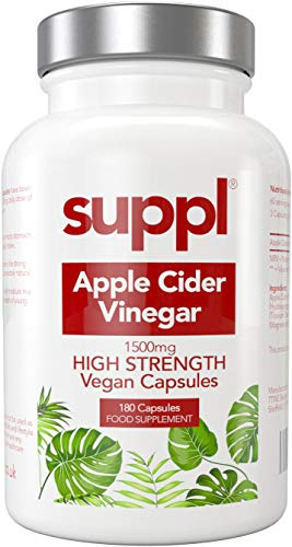 Raw Apple Cider Vinegar Capsules Tablets 1500mg, 180 Vegan Capsules Made from UK Grown Apples with The Mother, Keto Diet…