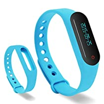 Lincass Touch Screen OLED Smart Healthy Bracelet Watch Wristband Sport Gym Fitness Tracker Stopwatch Passometer WristWatch Phone Mate Supports Android 4.3 or Above Android Smartphones (Blue)