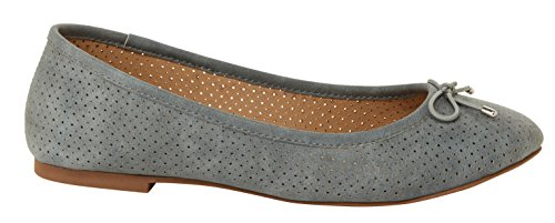 Toe Slip Round Blue Closed Flat Ballet On Women's Bow ESPRIT Orly Perforated Dusty tawqnXwI