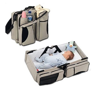 Multi-function Diaper Bag 3 in 1 Organizer Large Capacity Waterproof Polyester Baby Diaper Bags for Girls Boys Beige by Pekks