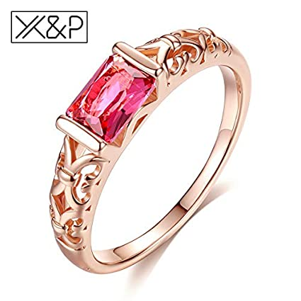 JEWH Brand Unique Fashion Retro Engagement Red Crystal Rings for Women - Rose Gold/Silver