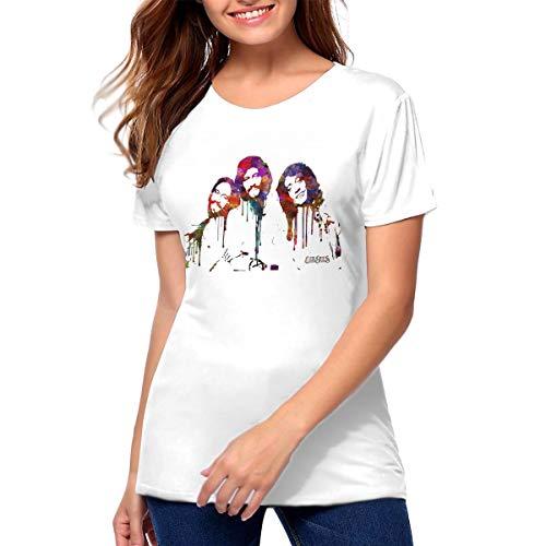 Bee Gees Art Women Basic Cotton Short Sleeve Round Neck Shirt White M