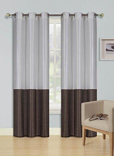 brown faux silk curtain panels - 3