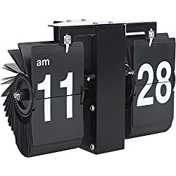 MIDCLOCK Flip Wall Clock, Retro Style Flip Clock, Flip Digital Clock for Home Decor, Larger Number Unique Clock, Stainless Steel, Battery Powered, Black