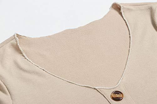 Suéter Cuello Club Apretado de Botón Larga Sexy Cadera Otoño Moda Vestidos Fiesta de Vestidos Partido V Primavera Manga de Vestido Caqui con Mini Paquete Jerséis Mujeres Swtq8XaW