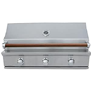 Caliber Crossflame Silver 41-inch Built-in Natural Gas Grill With Sear Burner - Wood Handle