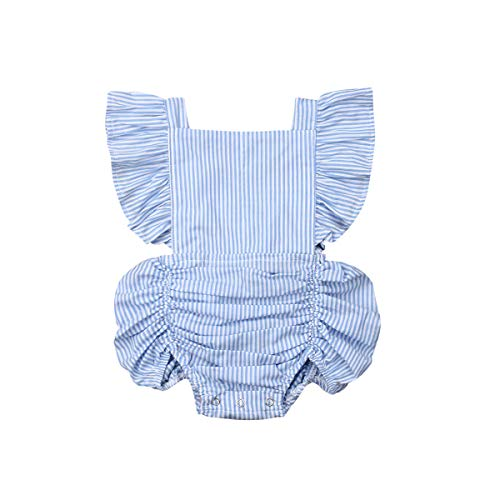 (Newborn Baby Girls Ruffle Sleeve Summer Solid Color Lotus Leaf Lace Pleated Romper (0-6 Months, Blue and White Stripes))