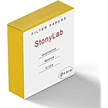 StonyLab Qualitative Filter Paper Circles, 46mm Diameter Cellulose Filter Paper with 20 Micron Particle Retention Medium Filtration Speed, Pack of 100