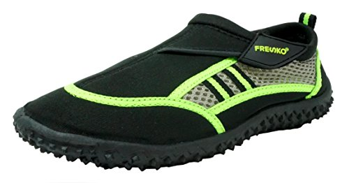 Fresko Kids Youth Unisex Aque Water Shoes Slip On Velcro Pool Beach, Lime/Black, 3 M US Little Kid - Kid Creature Socks