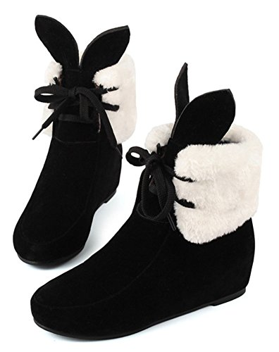 Chfso Mujeres Cómodo Lace Up Round Toe Cute Ears Mid Wedge Botines De Tacón Negro