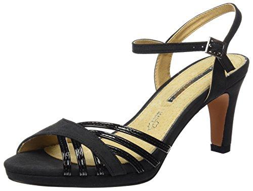 Charol Lorenza Negro Maria Tobillo Correa Mujer De Sandalias Para Con Suave Negro textil Mare 15Uzr5Yq7