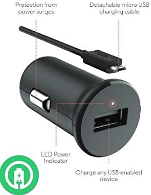 Turbo Fast Powered 15W Motorola Moto G6 Plus Car Charger with Detachable Hi-Power USB Type-C Cable!