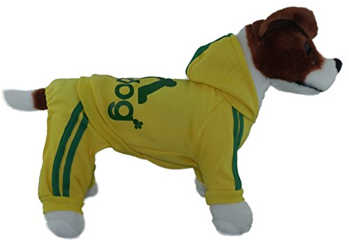 TadMart - Yellow Pet Hoodie adidog XL (for small dogs,100% cotton sporty hoodie/ sportswear / hooded sweater/ warm sweater / sporty outfit for pets) (Mens Clothes From The 80s)