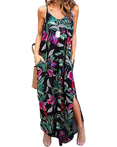 Kidsform Sleeveless Maxi Dresses for Women Casual Floral Print Leaf Spaghetti Straps Strappy Long Dress Cotton V Neck Side Split Summer Beach Party with Pockets Y-Floral 1 Large