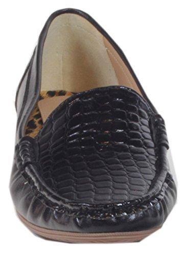 Ocala–Mocasines para mujer, tipo bailarinas, con barniz, con relieve de cocodrilo, talla 36,37,38, 39, 40, 41 Negro - negro