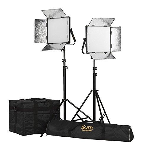 Ikan LB10-2PT-KIT 2-Point Soft Panel LED Light Kit with Gold & V-Mount Battery Plate, Black