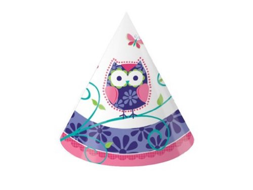 8-Count Child Size Birthday Party Hats, Owl -
