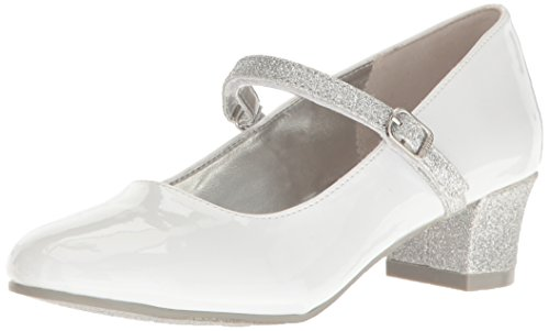 (Nine West Girls' PATRECE Heel, White/Silver, 2.5 M US Little Kid)