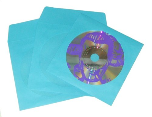 Square deal recordings supplies cdiwwfbl sky blue color for 100 paper cd sleeves with window flap