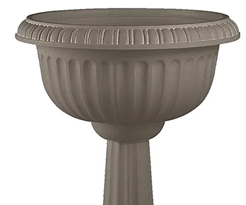 Garden Urn Pedestal Planter Entryway Decorative Flower Pot in Pappercorn Color 31'' H