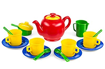 Kidzlane Play Tea Set, 16 Durable Plastic Pieces, Safe and BPA Free for Children's Tea Party and Fun