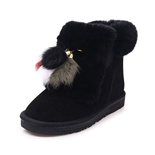 Snow Lined Slip Round Womens Tassel GIY Black Ankle Flat On Boots Fur Warm Snow Suede Boot Toe Winter 18wRHxnw