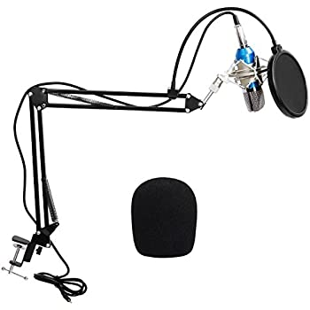 TONOR Pro Condenser PC Microphone Kit with Sound Card 3.5mm XLR Mic for Computer Studio Recording Broadcast with Pop Filter Scissor Arm Stand Shock Mount, Best for Youtube Facebook Live Periscope