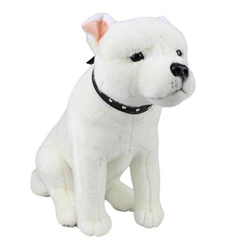- Bocchetta Plush Toys Staffordshire Terrier Sitting Staffy Dog Soft Plush Toy -Brewster- White- Medium