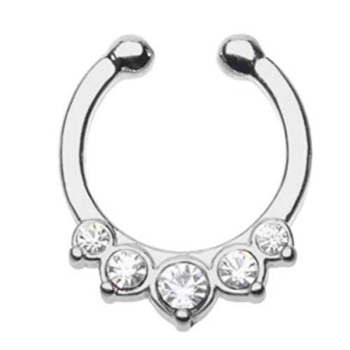 Clear cz 5 small prong set gem's Septum Clicker Fake Non piercing clip on Nose Ring Hoop Jewelry (No Piercing Required)