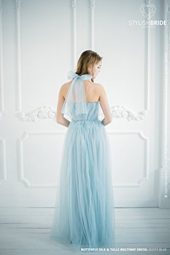 BF2 Butterfly Convertible Dusty Blue Bridesmaid Dress with bows on the back neck , Long Tulle Dress, Sweetheart Formal Dress Floor Length by StylishBrideAccs