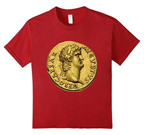 Kids Roman Emperor Nero Gold Coin T-Shirt Numismatics Rome Tee 10 Cranberry