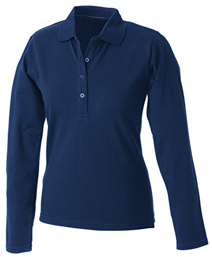 2store24 LadiesElastic sleeved Long Navy Polo Manica Lunga Confortevole Sqw7Sr1