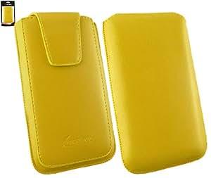 Emartbuy® Elephone P6000 5 Inch Smartphone Sleek Range Amarillo Cuero PU de Lujo Funda Carcasa Case Tipo Bolsa ( Size 4XL ) con Cierre Magnético y Mecanismo de Pestaña para Estirar