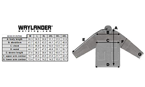 Waylander Welding Jacket Medium Split Leather Heat Fire Resistant Cotton Kevlar Stitched Cowhide Dark Brown - M by Waylander (Image #3)