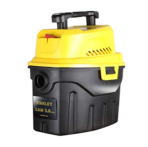 Stanley SL18910P-3 Wet/Dry, 3 Gallon, 3 Horsepower, Portable Car Vacuum, 3.0 HP AC, Black+Yellow