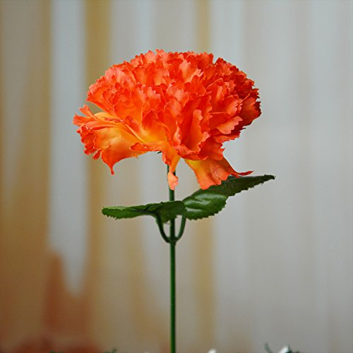Happy-Life-100-Carnations-4-Artificial-Silk-Flowers-Pick-orange