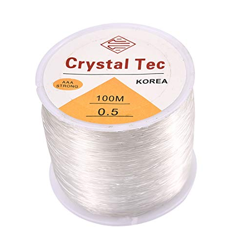1/2 Stretch Bracelet - 1 Roll 100M Elastic Bracelet String Cord Clear Stretch Bead Cord for Jewelry Making and Bracelet Making 0.5mm×100m White B