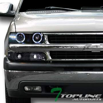 Topline Autopart Black Housing Halo Led Projector Headlights K2 With Signal Bumper lamps Yd For 1999-2006 Chevy Silverado ()